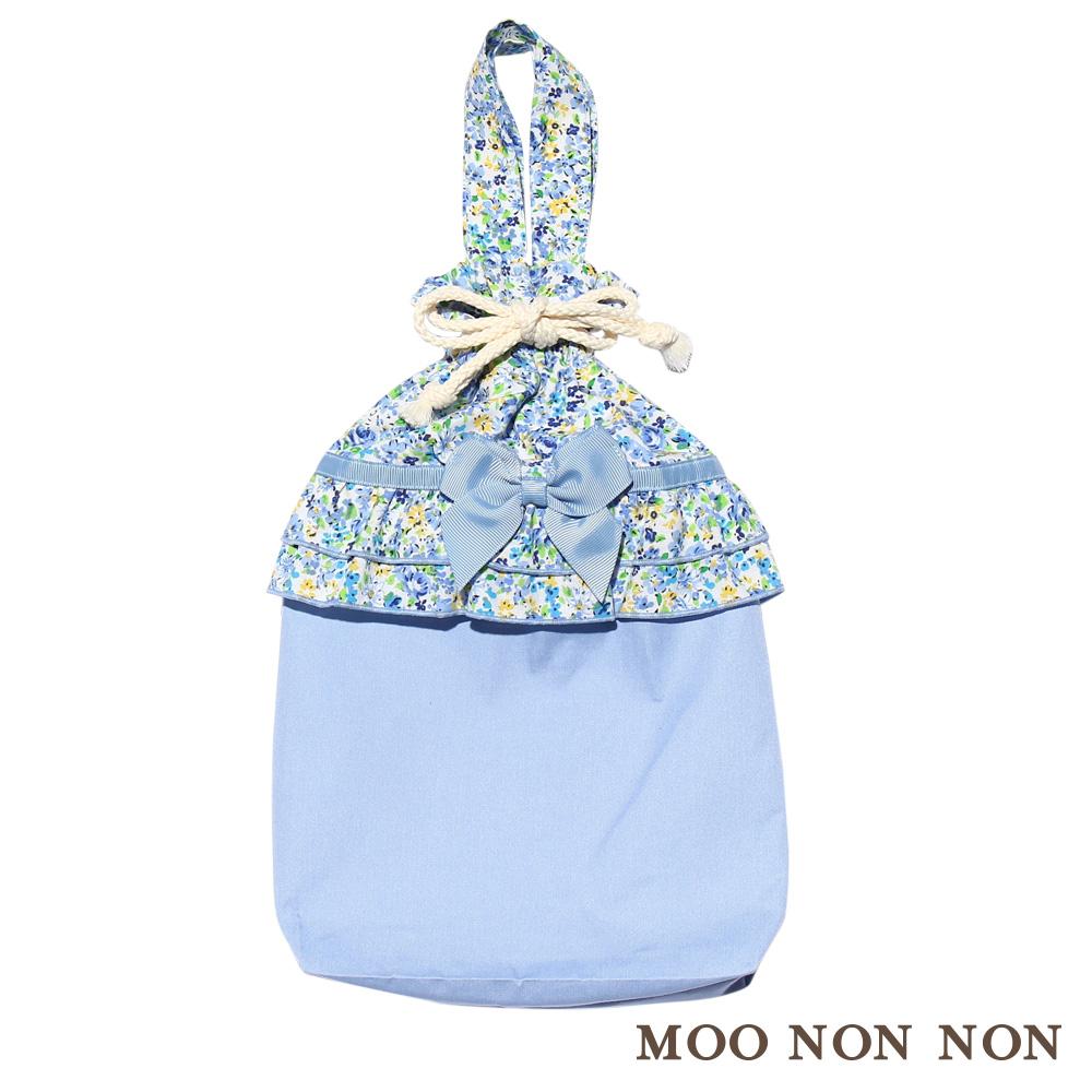 子供服 女の子 バッグ その他 通園通学 普段使い 上履き シューズ入れ バッグ 花柄リボンつき 巾着タイプ ブルー  【むーのんのん moononnon】